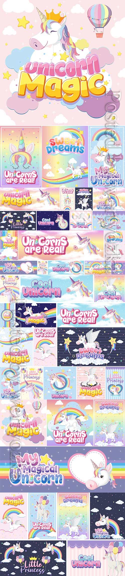 Cute unicorn set premium vector