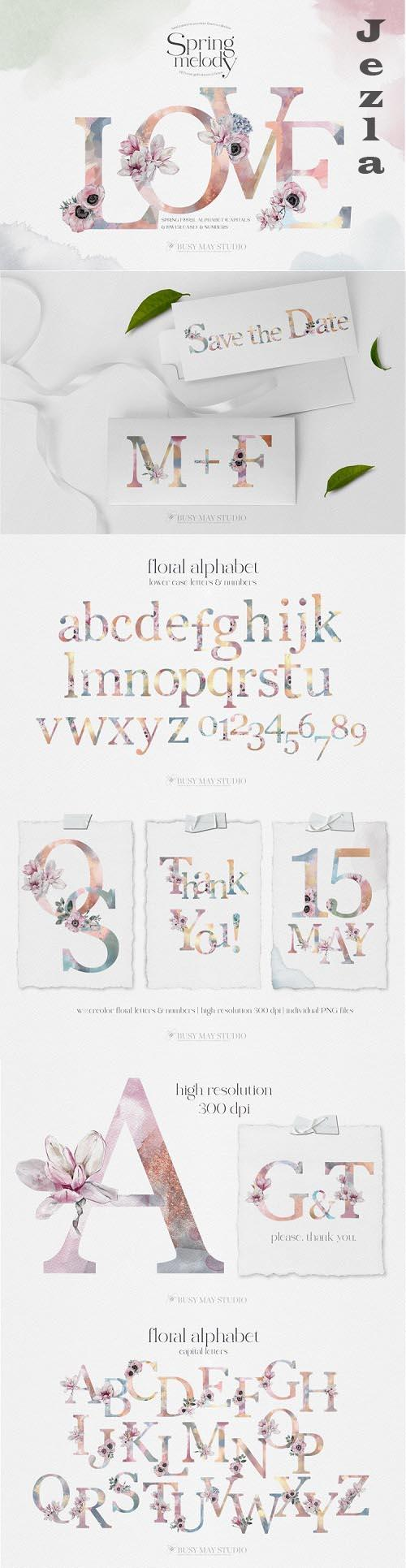 Watercolor Floral Alphabet Spring Rose Gold Letters PNG - 1139800
