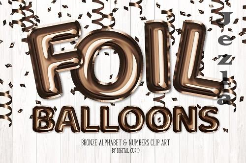 Bronze Foil Balloon Alphabet Clipart - 5757906