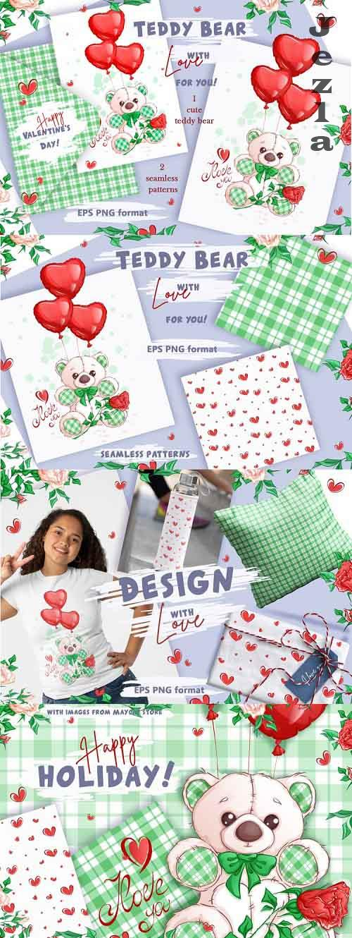 White Teddy Bear for Valentine's Day. Clipart and patterns - 1161518