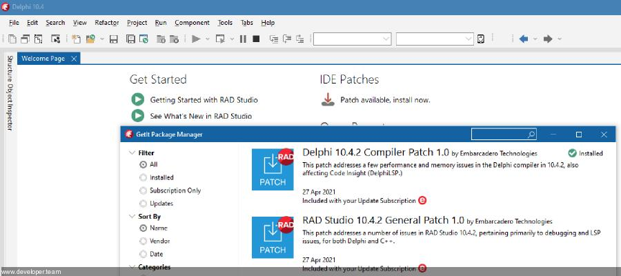 Delphi 10.4.2 RTL Patch 1.0 from May 03, 2021